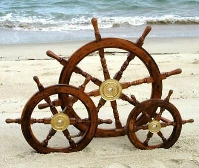 SET OF 3 Ship's Wooden Steering Wheel, Antique Old Style Teak and Brass Nautical
