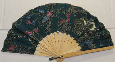 Hand held folding hand fan - Small 20cm Bamboo and Rayon - Green