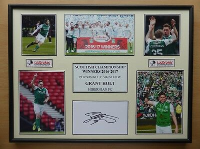 2016-17 Grant Holt Signed Hibernian Multi Picture Champions Display (10616)