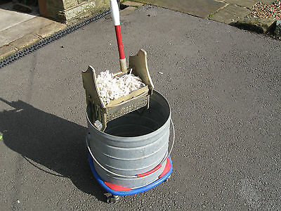 Industrial Galvenised Mop Bucket On Castors Metal Wringer and Long Tail Mop Head