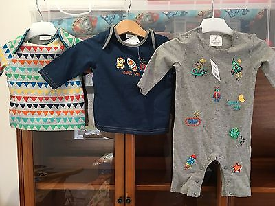 Next Space Rocket Theme Romper And Tops 0-3 Months Baby boy Gift New Fab!