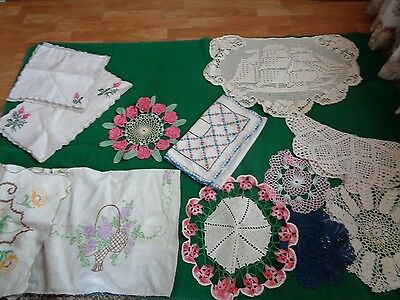 Lot 20 Doilies Crochet Embroidered Vintage Nice assortment!