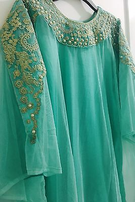 Blue Net Cape with Inner Shirt-Tilla Work Embroidery - Pakistani Indian - Eid