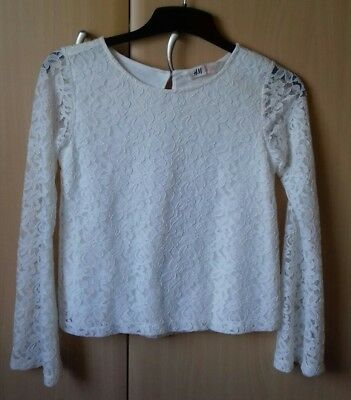 H & M girls cream lace top age 10-12 years. Excellent condition
