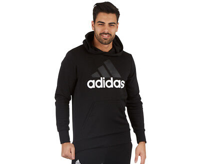 Adidas Men's Essentials Linear Pullover Hoodie - Black