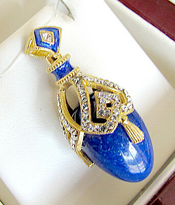BEAUITIFUL  RUSSIAN PENDANT STERLING SILVER 925 with GENUINE LAPIS 24K GOLD