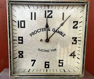 Procter & Gamble Electric Wall Advertising Clock, OPERATIONAL 1930s Art Deco
