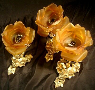 Antique Pretty Set Of 3 Bronze Wall Lights Glass Amber Colour Rose Floral Shades