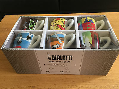 NEW Lovely Bialetti Espresso Set Of 6 cups & saucers .NEW DESIGN