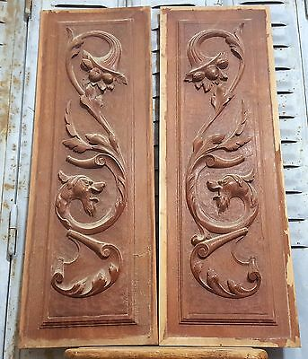 HAND CARVED WOOD PANEL MATCHED PAIR ANTIQUE FRENCH GRIFFIN SALVAGED CARVING 19th