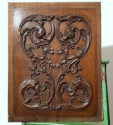 Hand Carved Wood Panel Antique French Griffin Grappes Vine Carving Sculpture