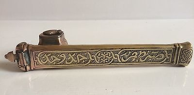 Antique Islamic Middle Eastern Brass Pen Case Inscribed