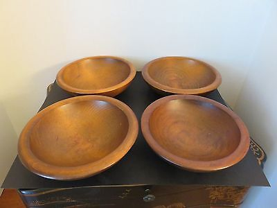 """4 Vintage Kennedy Bros Vermont Turned Wooden 6"""" Bowls With Original Labels"""