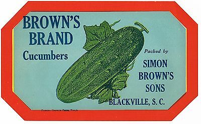 Original Crate Label 1920 Blackville South Carolina Simon Brown Brown's Cucumber