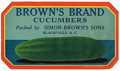 Original Crate Label 1920 Blackville South Carolina Simon Brown's Cucumber #2