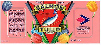 Original Tin Can Label Vintage Salmon Scarce Pink Tulip Seattle 1960S Fidalgo 2