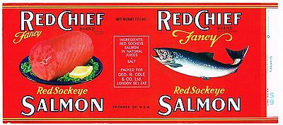 Original Tin Can Label Vintage Salmon 1960S Red Chief Northwest Export London