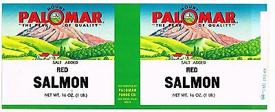 Original Tin Can Label Vintage Salmon 1960S Mount Mt Palomar San Diego Scarce