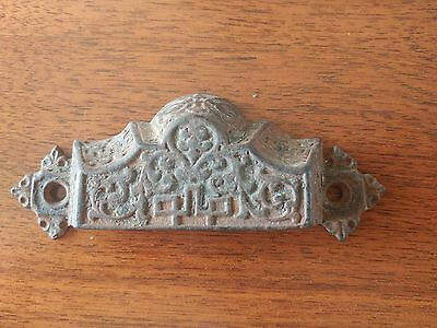 Vintage Large Cast Iron Eastlake Drawer Pull - Nice Detailed Design