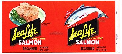 Original Tin Can Label Vintage Salmon 1960S Sea Life Seattle Wash Recanned Yum