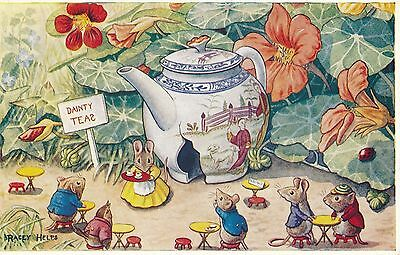POSTCARD  CHILDREN  Rabbits  The  Tea  Shop         Helps