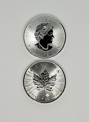 2015 1oz Silver Canadian Maple Leaf $5 Coin(Lot of 2) w/Protective Flip