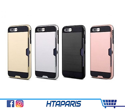 "Coque protection case iPhone 7 (4,5"") / 7+ (5,5"") - etui carte bancaire CB badge"