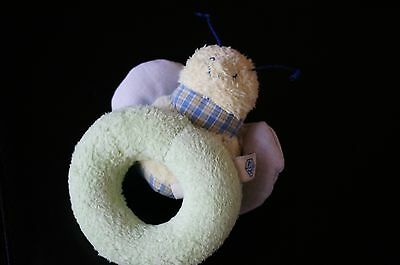 BABY Plush Pottery Barn Kids Green Blue Yellow Bumble Bee Soft Ring Rattle Toy