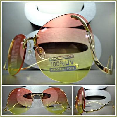 KIDS CHILDRENS RETRO Style SUN GLASSES Upside Down Gold Frame Pink & Yellow Lens