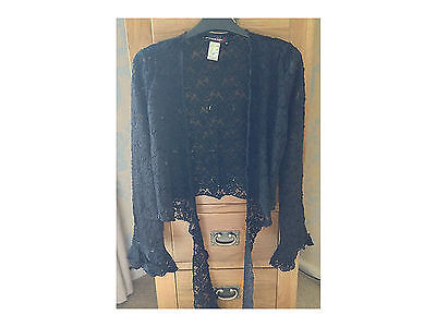 Women's Black Lace Long Sleeved Wrap Top  Size 10/12 (stretch) NEW