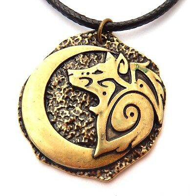 BRASS TRIBAL WOLF & CRESCENT MOON MEDALLION PENDANT necklace spirit totem W2