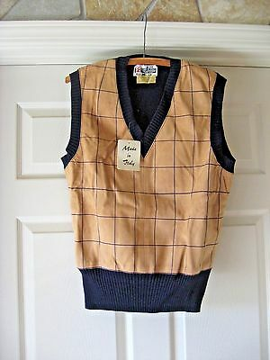 Vintage 70S Suede Leather Sweater Vest Macy's California made in Italy L NEW NOS