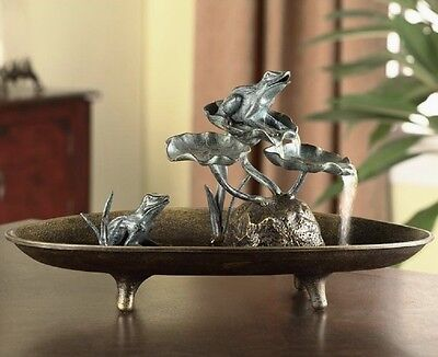 """Frogs On Lily Pads Pond Table Top Water Fountain Indoor Metal Frog Decor 19""""W"""