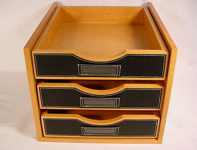 Levenger Wood Desk Organizer 3 Sliding Trays in Stand w/Leather Front for Labels