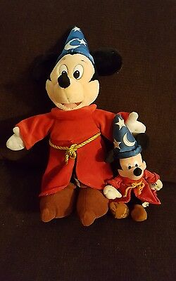 "Disney Mickey Mouse Sorcerer's  Lot of 2  Plush Toys 1-12"" and 1-17"""