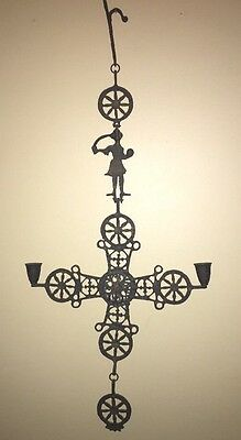 Vintage Wrought Iron Byzantine Heraldic Cross w/Candle Holders by Sunset Stars