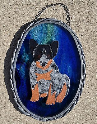 Fused Art Glass Window Hanger Australian Cattledog Blue Heeler Puppy