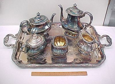 Vintage Gorham Shell Gadroon Silver Plate 6pc Coffee & Tea Set with Tray