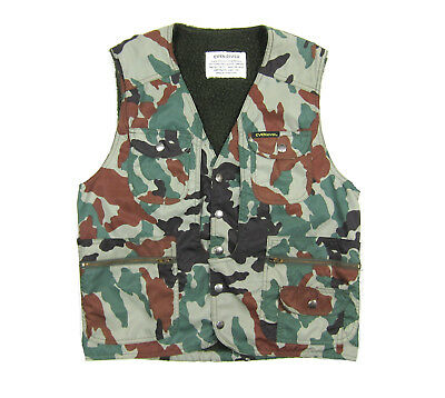 80S Vtg Even River Woodland Camo Fleece Lined Tech Vest Outdoors Camouflage Army