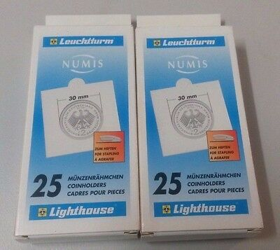 Lighthouse Numis 2 x 2 Coin Holders Pack of 25 x 2 Packs - 30mm
