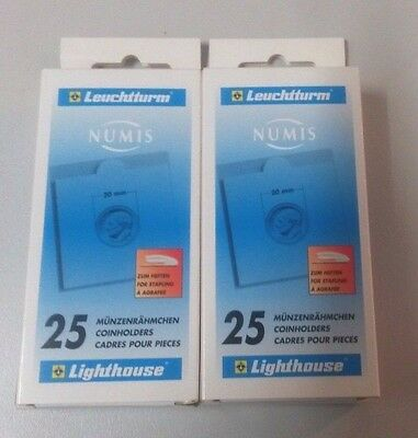 Lighthouse Numis 2 x 2 Coin Holders Pack of 25 x 2 Packs - 20mm