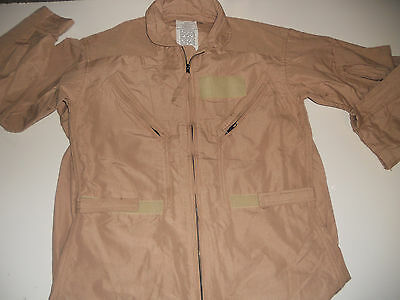 FLYERS SUIT MILITARY COVERALLS 92% Aramid Fire Resistant 40S USA CWU 27/P Tan