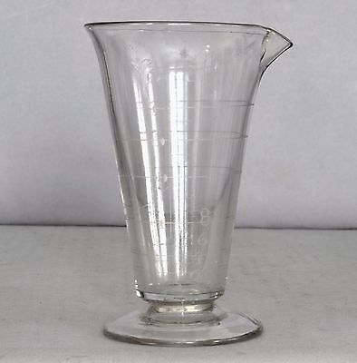 Small Antique Apothecary/Pharmaceutical Country Store Etched/Blown Glass BEAKER