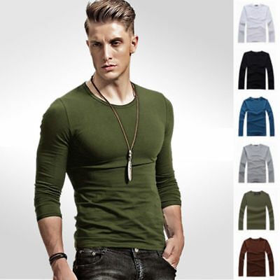 Mens Round V Neck Long Sleeve T-Shirt Slim Fit Casual Solid Tee Mens Fashion Top