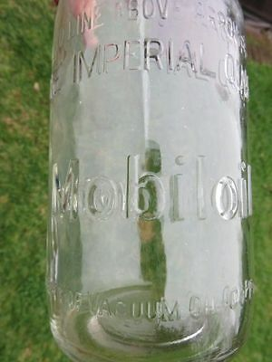 Old Mobiloil Mobil Oil Bottle One Imp Quart Australia