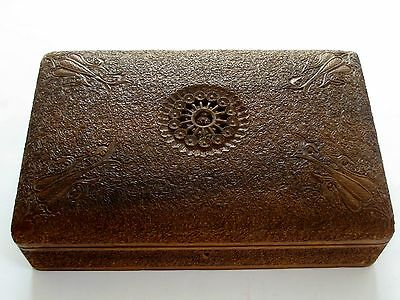 Antique Anglo-Indian Carved Sandalwood Jewelry Keepsake Box, Late 19th Century
