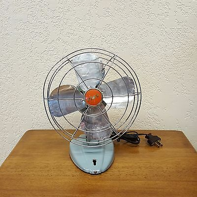 Vintage Mid Century McGraw-Edison ZERO Fan Sky Blue Model 1250R - 10""