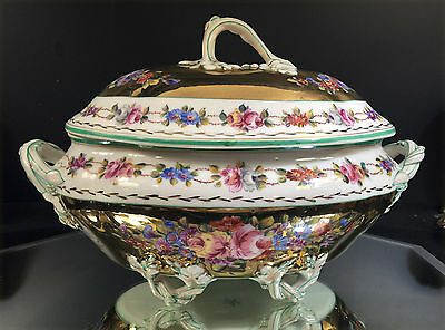 Sevres Floral Tureen With Underplate--Gold With Lovely Floral--Buy It Now!