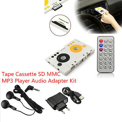 Car Telecontrol Tape Cassette SD MP3 Player Audio Adapter Earphone Kit + Remote