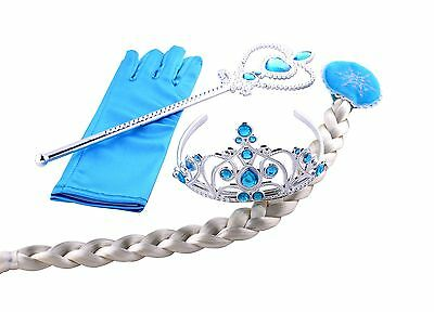 Girls Frozen Princess Elsa Anna Gloves Tiara Crown Braid Wig Hair Piece Wand Set